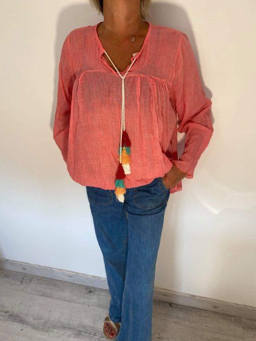 Jeans Nina Carter et Tunique voile pompons Elle est du Sud