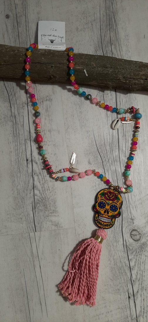 Sautoir tête de mort Mexicaine par Elle est du Sud
