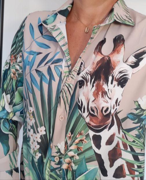 Chemise girafe ELLI WHITE PAR Elle est du Sud