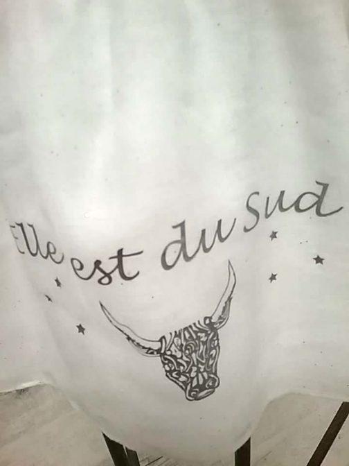 Foulard blanc paillettes Elle est du Sud