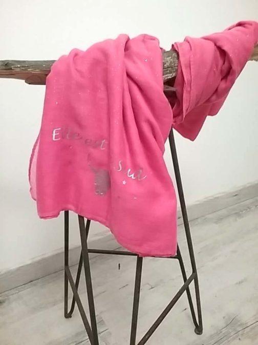 Foulard rose paillettes Elle est du Sud