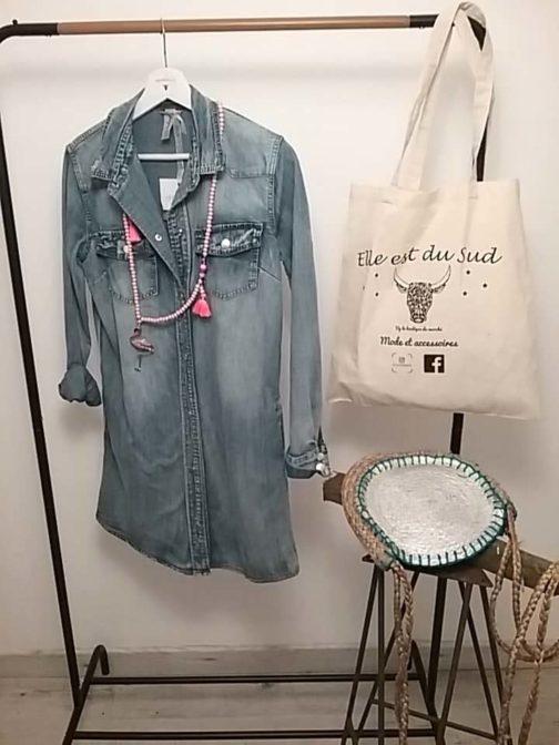 Robe chemise jean Elle est du Sud
