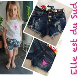 Short jeans frangé fillette by Elle est du Sud