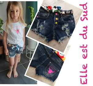 Short jeans frangé fillette by Elle est du Sud