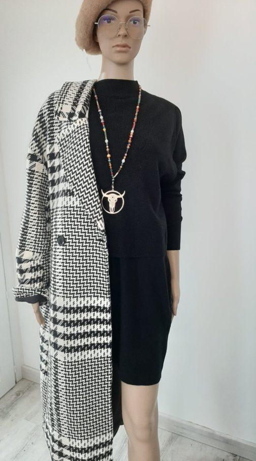 Manteau long oversize carreaux patchwork